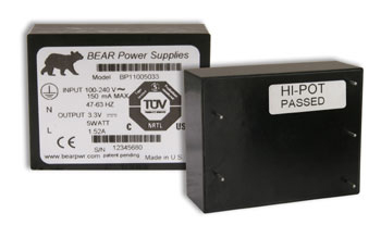 BEAR Power Supplies feature wide operating temperature range, low inrush current, rugged design and long life